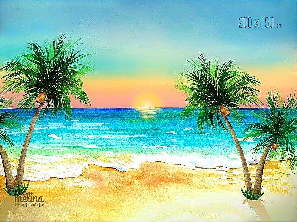 Fundo Fotográfico Pôr do Sol na Praia Antigo (COM DEFEITO)