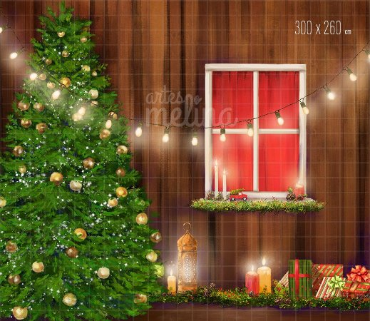 Fundo Fotográfico Pinheiro de Natal