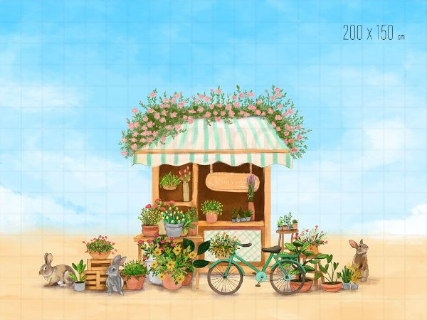 Fundo Fotográfico Loja de Flores com Coelhos
