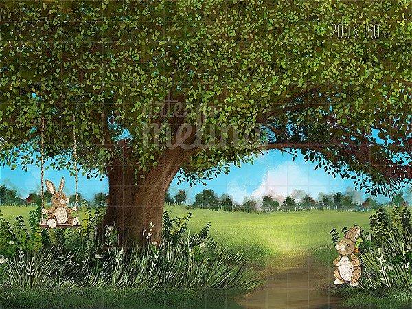 Fundo Fotográfico Árvore do Riacho com Coelhos