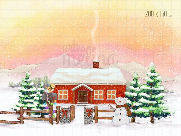 Fundo Fotográfico Boneco de neve