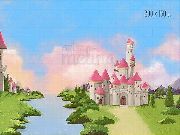 Fundo Fotográfico Castelo Mágico Rosa