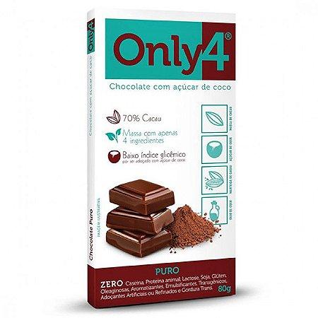 CHOCOLATE 70% CACAU SABOR PURO ONLY4 80g