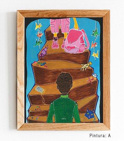 """Pinturas Originais de """"O menino que vestia cor de rosa"""" 21x30 cm."""