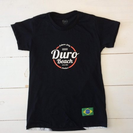 Camiseta algodao baby look Duro Beach preto