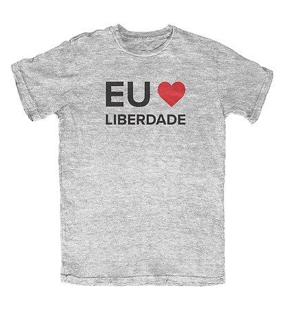 Camiseta Eu Amo Liberdade Cinza Mescla