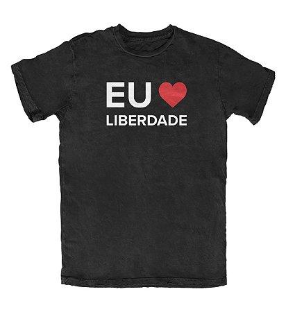 Camiseta Eu Amo Liberdade Preta