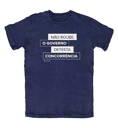 Camiseta Ideias Radicais Governo Detesta Concorrência Azul Marinho