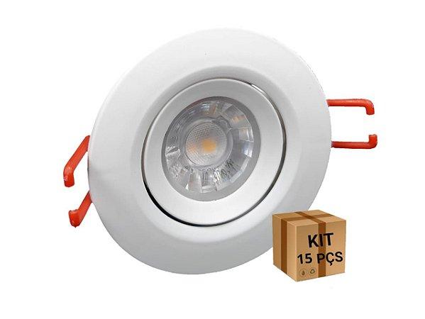 KIT 15 SPOTS LED REDONDO 3W  6500K BIVOLT