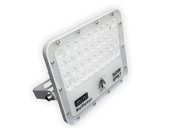 REFLETOR LED LIGHT 50W SMD 6500K IP67 CARCAÇA BRANCA