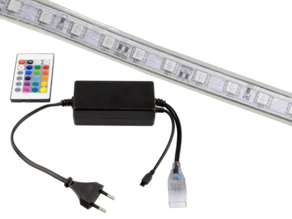KIT 17 METROS MANGUEIRA CHATA 5050 RGB 127V COM 2 CONTROLES
