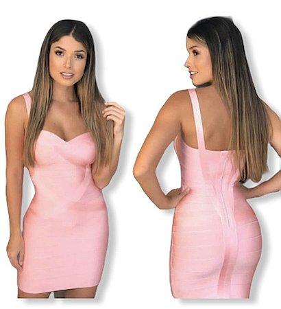 Vestido bandagem rosa claro M