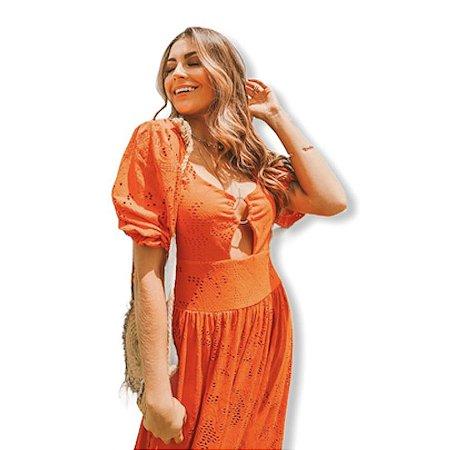Vestido longo laranja furadinho / tamanho P