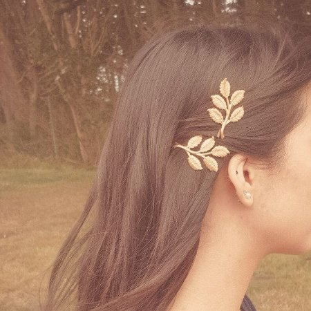 Grampos folhas douradas