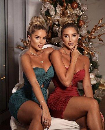 Vestido brilhoso natal - P