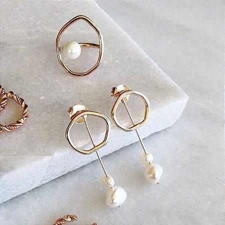 Conjunto pérola dourado - anel e brinco pérola
