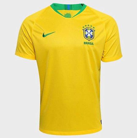 f6fbefe828 Camisa Seleção Brasil I 2018 s n° - Torcedor Nike Masculina - Amarelo e
