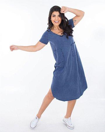 Vestido Santiago Azul Marmo