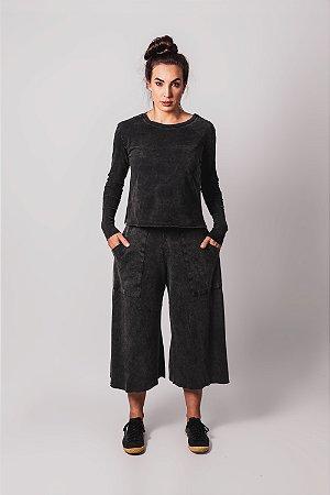 Blusa manga longa preto marmo