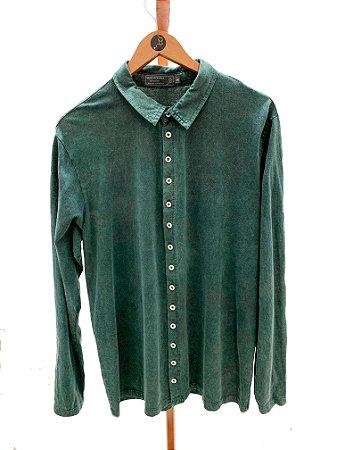 Camisa manga longa botões Verde Militar