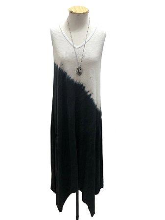 Vestido trancoso tie dye preto e branco