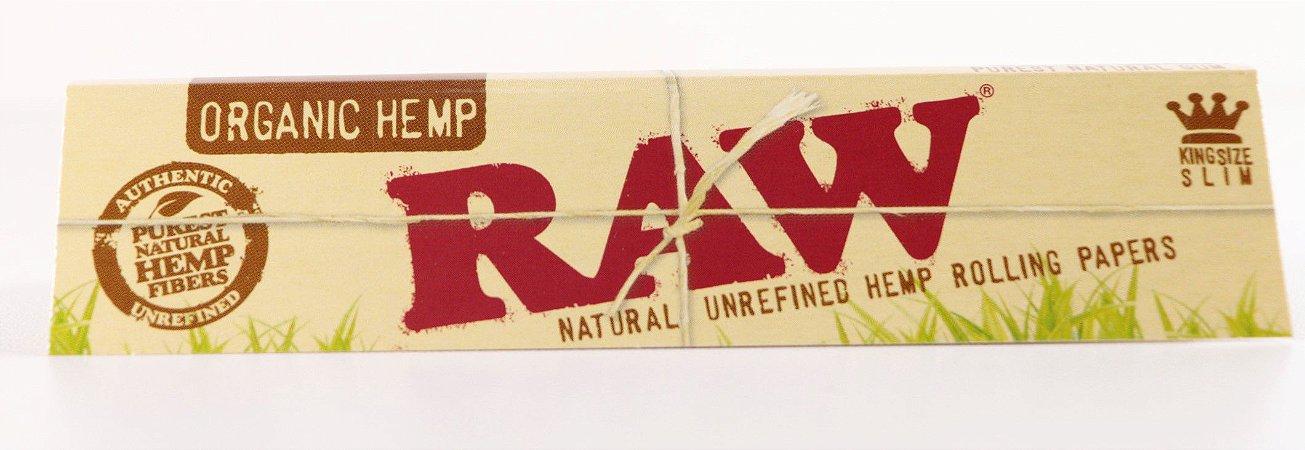 Seda Raw organic Hemp king size Slim. Livreto com 32 folhas.
