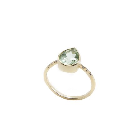Anel Prasiolita e Diamantes Ouro 18k