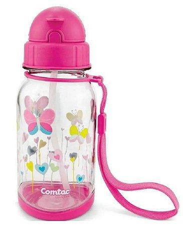 Copo com Canudo Tritan Borboleta 400ml (+18M) - Rosa - Comtac Kids