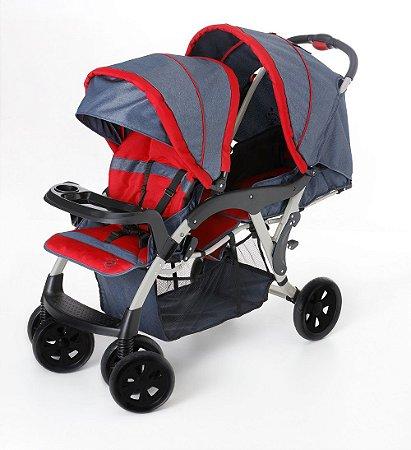 Carrinho de Bebê para Gêmeos Dóppio (até 15 kg) - Jeans - Galzerano