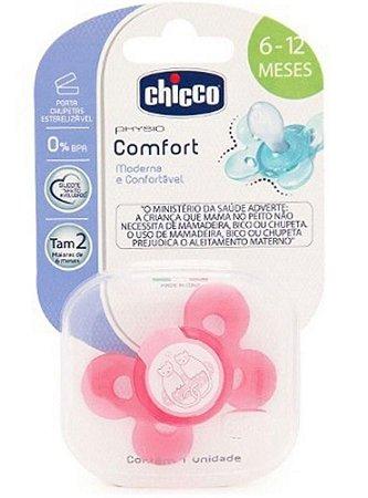 Chupeta Physio Comfort Tam 1 (0-6m) - Chicco Rosa