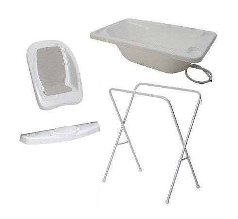 Conjunto de Banheira com Assento, Saboneteira e Suporte (até 20 kg) - Branco - Galzerano