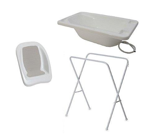 Conjunto de Banheira com Assento e Suporte (até 15 kg) - Branco - Galzerano