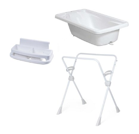 Conjunto de Banheira com Saboneteira e Suporte (até 20 kg) - Branco - Burigotto