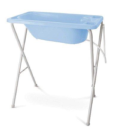 Banheira Plástica com Suporte (até 20 kg) - Azul - Galzerano