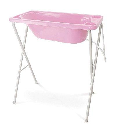 Banheira Plástica com Suporte (até 20 kg) - Rosa - Galzerano