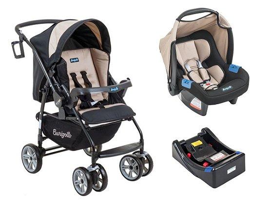 Carrinho de Bebê Travel System AT6 K com Base (até 15 kg) - Bege - Burigotto