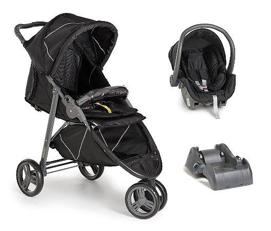 Carrinho De Bebê Cross com Bebê Conforto e Base - Black - Galzerano