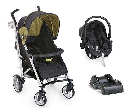 Conjunto de Carrinho de Bebê e Bebê Conforto com Base - Preto e Verde - Dzieco