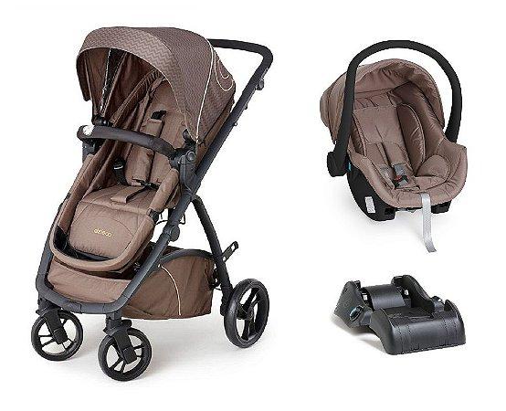 Carrinho de Bebê Travel System Mally com Base (até 15 kg) - Chocolate - Dzieco