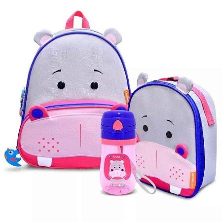 Conjunto de Mochila, Lancheira e Copo Let's GO! - Hipopótamo - Comtac Kids