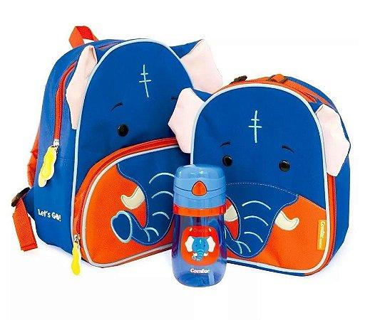 Conjunto de Mochila, Lancheira e Copo Let's GO! - Elefante - Comtac Kids