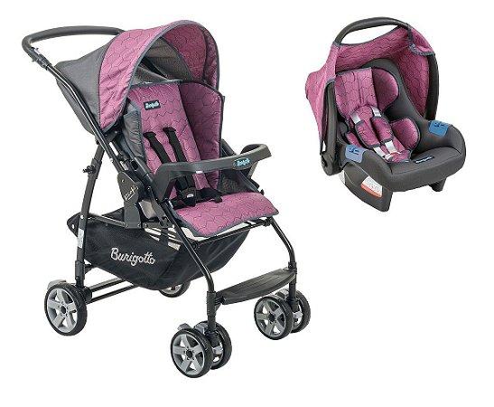 Carrinho de Bebê Travel System Rio K (até 15 kg) - Geo Rosa - Burigotto