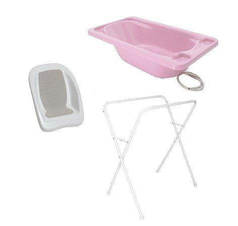 Conjunto de Banheira com Assento e Suporte (até 20 kg) - Rosa  - Galzerano