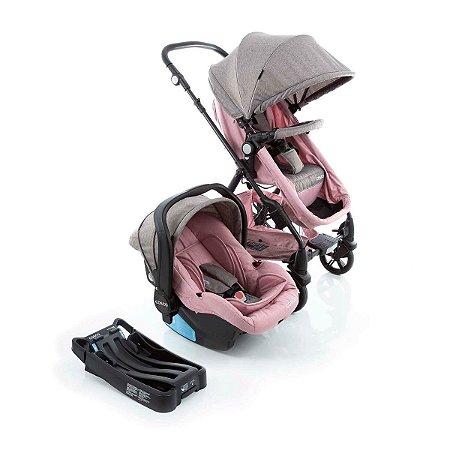 Carrinho de Bebê Travel System Poppy Trio (até 15 kg) - Rosa Mescla - Cosco