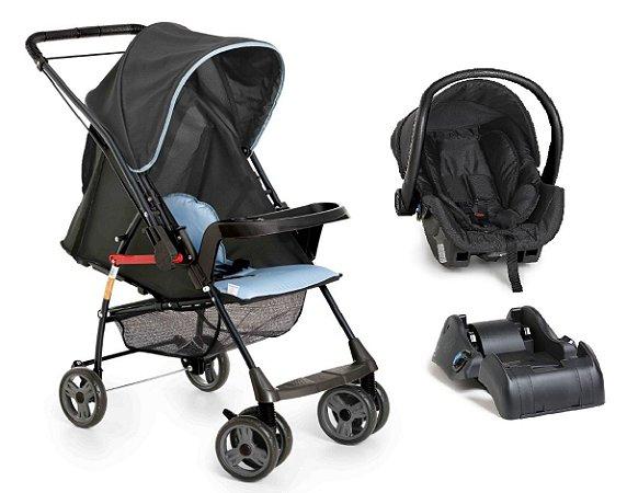 Conjunto Carrinho de Bebê Sorano - Preto Azul - Galzerano