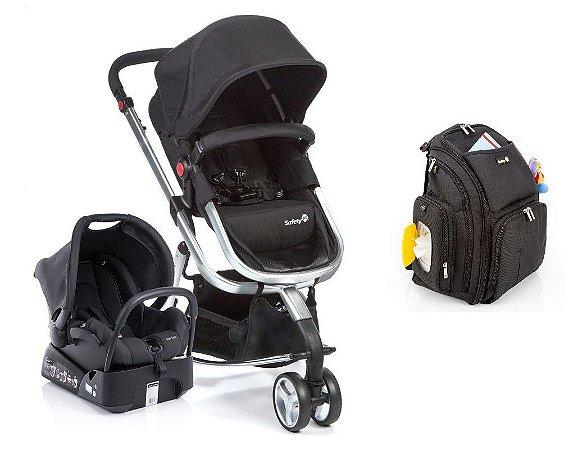 Conjunto de Carrinho de Bebê, Bebê Conforto com Base e Mochila - Preto - Safety 1st