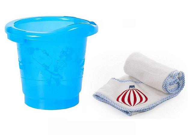 Conjunto de Banheira Ofurô e Toalha (até 6 meses) - Balão Azul - Infanti