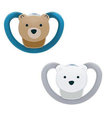 2 Un. Chupeta Space Tam.1 (+0M) - Urso Azul e Urso Cinza - NUK