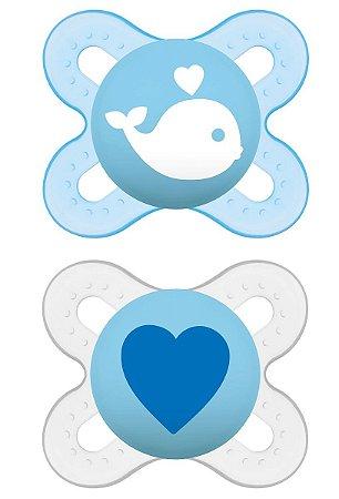 Chupeta Start Dupla Tam 1 (0 - 2 meses) Azul e Neutro - MAM