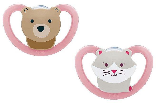 Chupeta Space - Gato e Urso Rosa - (6m+) Tam.2 - Nuk
